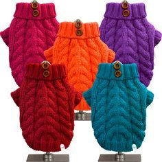 Classic cable knit dog sweaters...perfect for fall!