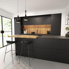 Minimal Kitchen Design, Kitchen Room Design, Ikea Kitchen, Home Decor Kitchen, Interior Design Kitchen, Black Kitchens, Home Kitchens, Small Room Design Bedroom, Outdoor Kitchen Bars