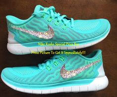 Swarovski Bling Nike Free 5.0 Teal Neon by GoldHomeCouture on Etsy