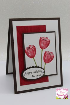 Stampin up Tranquil tulips hostess stampset sneak peek 2017 - 2018 catalog birthday card i made, also used the greetings from stampin up Happy birthday gorgeous