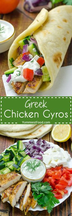 Greek Chicken Gyros with Tzaziki Sauce and Pita Flatbread - super fast, delicious and easy too! You can easily make Greek Chicken Gyros with Tzaziki Sauce and Pita Flatbread at home and enjoy in this healthy and very tasty recipe!