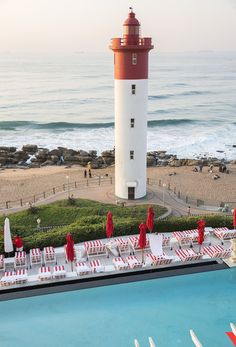 I had seen so many pictures and heard so many stories about the iconic Oyster Box Hotel in Durban I obviously really wanted to stay there. The view of the lighthouse and Umhlanga beachfront over th… South Beach Hotels, South Beach Miami, Places Around The World, Around The Worlds, Durban South Africa, Kwazulu Natal, Top Hotels, Summer Aesthetic, Holiday Destinations