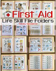 Grab this set of first aid life skill file folders for students with special needs! No reading required. Includes skills on using medicine, labeling body parts, determining emergency situations and MORE! Life Skills Lessons, Life Skills Activities, Teaching Life Skills, Listening Activities, Life Skills Kids, Life Skills Classroom, Autism Classroom, Special Education Classroom, Special Education Activities