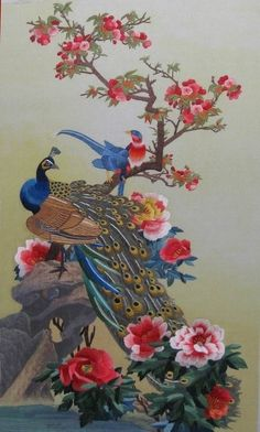 Peacocks and Peonies, original Peacock Wall Art, Peacock Painting, Chinese Painting, Chinese Art, Peacock Pictures, Asian Quilts, Art Chinois, Art Asiatique, Bird Artwork