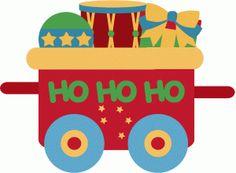 Silhouette Design Store - View Design #51494: santa train car 2 toys christmas