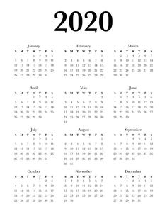 Free Calendar 2020 Printable One Page in 4 different minimalist designs and 3 sizes (US letter, Classic Happy Planner).This Free Printable year at a glance calendar will help you stay organized. 2020 Calendar Template, Print Calendar, Free Printable Calendar, Printable Planner, Free Printables, Work Planner, Organized Planner, Happy Planner, Graphic Design Magazine