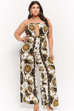 17bbe45d36d Forever 21 Plus Size Off-the-Shoulder Baroque Cutout Jumpsuit plussizejumpsuitssummer   plussizejumpsuitsoutfit