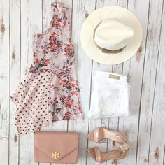 Outfit Layout: Anthropologie garden pop hanky hem tank, white jeans and panama hat