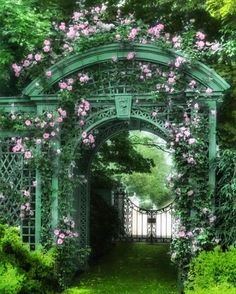 Rose arbor arch at Sunken Orchard, Oyster Bay, New York. Once one of the most…