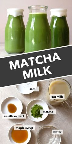 with oat milk, this matcha milk recipe is sweet, creamy, and completely delicious. Stock your refrigerator this summer with this green drink everyone will love. Oats Recipes, Milk Recipes, Vegan Recipes, Flour Recipes, Vegan Meals, Matcha Powder Recipes, Matcha Milk, Losing Belly Fat Diet, Lose Belly