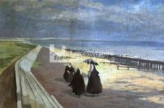 Nuns on the Beach (recto), by George Manchester