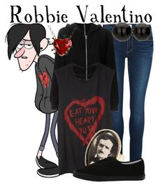 """""""Robbie Valentino from Gravity Falls"""" by ginger-coloured ❤ liked on Polyvore featuring Paige Denim, BLK DNM, INDIE HAIR and Vans"""