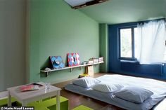 the boo and the boy: Montessori inspired kids' rooms: shared room. I like the idea of kids sleeping together. I loved that when I was little