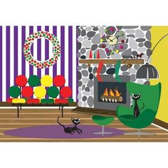 Amazon.com: Retro Cats Christmas Fireplace - Boxed Holiday Christmas Greeting Cards - Set of 10 Cards and Envelopes: Health & Personal Care