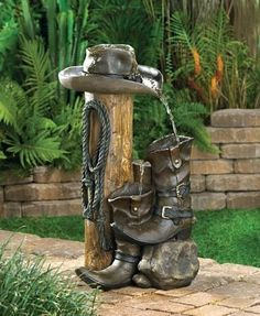 Wild Western Rustic Cowboy Hat Boot Water Fountain Furniture Creations, http://www.amazon.com/dp/B004CG9H20/ref=cm_sw_r_pi_dp_6XUPpb03115CD
