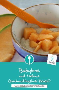Lecker und fruchtig: Babybrei mit Melone. Das Rezept für den Nachmittagsbrei (Getreide-Obstbrei) ist für Babys ab dem 7. Monat geeignet.