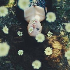 Lost in my thoughts eyes girl outdoors nature flowers autumn mouth