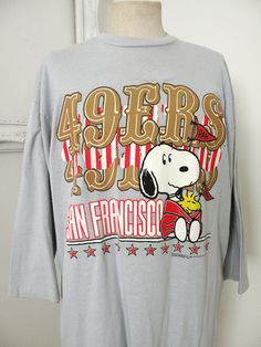 San Francisco 49ers Snoopy Long T Shirt Vintage Sleep Shirt XL 7e0f1f25d