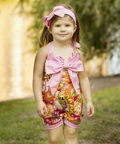 Pink Paisley Bow Romper - Toddler & Girls