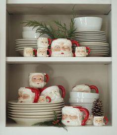 fun santa mugs with greenery - fun santa mugs with greenery - Cottage Christmas, Christmas Kitchen, Christmas Mugs, Country Christmas, Christmas Crafts, Frugal Christmas, Merry Little Christmas, Christmas Love, Christmas Holidays