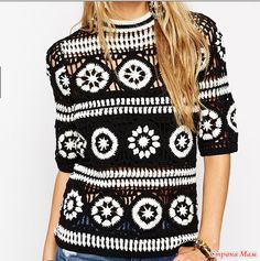 Fabulous Crochet a Little Black Crochet Dress Ideas. Georgeous Crochet a Little Black Crochet Dress Ideas. T-shirt Au Crochet, Cardigan Au Crochet, Beau Crochet, Pull Crochet, Crochet Shirt, Crochet Jacket, Crochet Woman, Free Crochet, Crochet Bodycon Dresses
