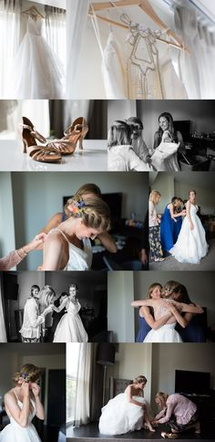 Kansas City bride getting ready in her Hayley Paige wedding gown from Gown Gallery for her downtown  Kansas City wedding at The Guild.  Photos by Heather Brulez Photography