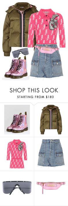 """Cool Girl: Pink Dr. Martens"" by kvogele on Polyvore featuring Dr. Martens, Ganni, Miu Miu, RE/DONE, Porsche Design and Moschino"