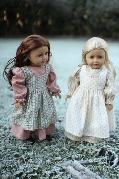 Which Dolls for the Ingalls sisters? | American Girl Playthings! Here are Saige & Caroline playing the part beautifully