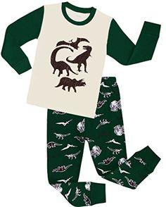 Boys Pajamas Children Christmas Gift Kids Dinosaur Clothes 100% Cotton Size 2-7 -- Learn more @
