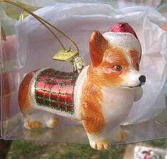 Christmas tree corgi ornament