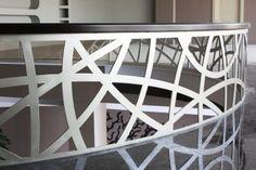 lazar cut steel railings   Custom designer handrail with wooden top