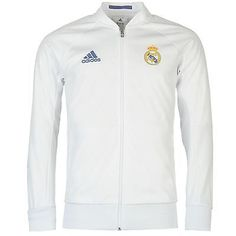 Adidas real madrid  anthem jacket mens  white  football soccer tracksuit  track to 90c5880822b7c