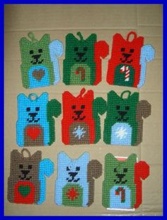 PATCHWORK KITTIES CHRISTMAS TREE ORNAMENTS by JODY 1/2