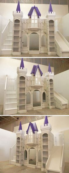 This purple San Marcos Princess Castle bunk bed and indoor playhouse is the perfect way to make sure you're little girl feels every bit like a queen! The San Marcos includes the spindled staircase and slide, and additional features include the hand painted vines and stones, and an electrical kit to light up the night. Click to see more!