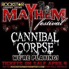 Mayhem festival April Full, Cannibal Corpse, Ticket Sales, Entertaining, Metal, Festivals, Tours, Music, Muziek
