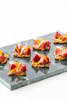 This incredible recipe from Alyn Williams combines the unlikely flavours of venison, peach, and homemade garibaldi biscuits for a deliciously unusual canapé. Canapes Recipes, Appetizer Recipes, Garibaldi Biscuits, Christmas Canapes, Peach Puree, Snack Items, Great British Chefs, New Year's Food, Incredible Recipes