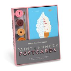 Knock Knock Sweet Treats Paint-by-Number Postcards Kit are paint by number for adults! Cute, cool stationery by crafty jack-of-all-trades Robert Mahar. Cool Stationery, Stationary, Diy Postcard, Decadent Chocolate Cake, Thing 1, Paint By Number Kits, Creative Kids, Knock Knock, Gift Guide