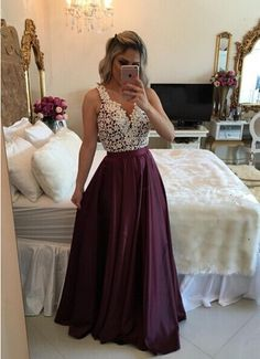 V-Neck A-line Burgundy Long Homecoming Dress with Beaded Lace, #2017prom #coniefox #designerpromdress #coniefoxreviews