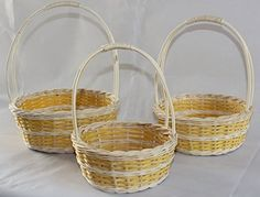 ShopOnNet Wicker/Rattan Flower Baskets OR Easter Baskets OR Gift Baskets in Goldenrod Double Band ON Cream Design Storage Baskets, Gift Baskets, Flower Girl Basket, Flower Baskets, Easter Baskets, Laundry Basket, Wicker Baskets, Handicraft, Rattan