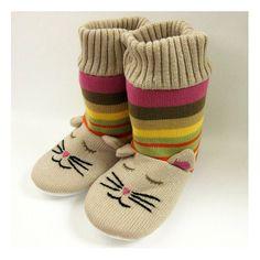 Knitted Cat Slipper Socks