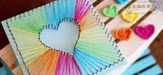 Best DIY Rainbow Crafts Ideas - Heart String Art - Fun DIY Projects With Rainbow.Best DIY Rainbow Crafts Ideas - Heart String Art - Fun DIY Projects With Rainbows Make Cool Room and Wall Decor, Party and Gift Ide# Art Kids Crafts, Bee Crafts, Diy And Crafts, Art Ideas For Teens, Arts And Crafts For Teens, Kids Diy, Craft Ideas For Teen Girls, Diy Crafts To Do At Home, Upcycled Crafts