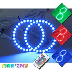 18.00$  Buy here - http://ali7pe.shopchina.info/1/go.php?t=32736432380 - 2X72MM RGB Multi-Color LED Angel Eyes Halo Rings for projector Headlamp  #buyonline