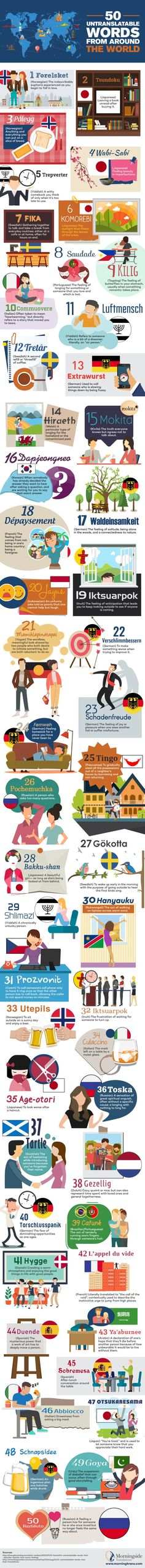 50 Untranslatable Words From Around the World #Infographic #Language