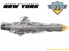 The EDF New York. Original design by Brian Rivers. Based on the Star Blazers animation series. EDF New York 06 Spaceship Design, Spaceship Concept, Concept Ships, Concept Art, Stargate, Sci Fi Anime, Sci Fi Spaceships, Capital Ship, Star Blazers