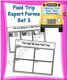 Field Trip Report Forms Set 3 from A Teacher in Paradise on TeachersNotebook.com -  (2 pages)  - Enclosed in this set you will find two field trip report templates that will help your students become more accountable for what was learned on a field trip.