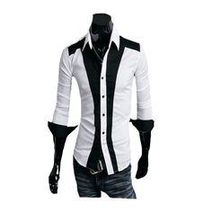 Zehui Mens Casual Slim fit Stylish Dress Shirt Contrast Color Long Sleeve Shirt White US:M