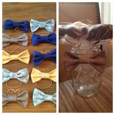 DIY bow ties and chocolate lollipop mustaches put inside a mason jar for the baby shower.