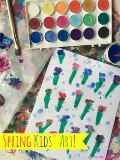 Spring art for kids. Children can build fine motor skills, learn about science and practice math while creating a season themed art activity!