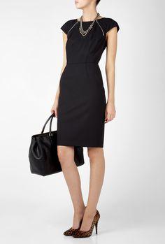 structured dress work black cinched waist