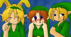 A commissioned picture of my Zelda OCs who are the kids of Link and Zelda. Featuring (from left to right): Ona, Charlie, and Samuel.  Tags: the legend of zelda, ocarina of time, fan made, oc, fc, boys, cute, kawaii, young link, zelink, nintendo